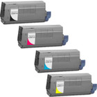 4 Pack - Compatible replacement for Okidata 43866104 series laser toner cartridges