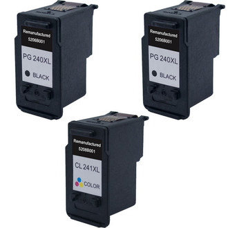 3 Pack - Remanufactured replacement for Canon PG-240XL and CL-241XL series ink cartridges