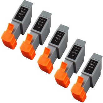 5 Pack - Compatible replacement for Canon BCI-24 black ink cartridges