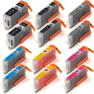 12 Pack - Compatible replacement for Canon PGi-250 and Cli-251 series ink cartridges