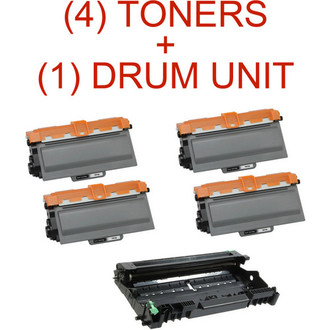 5 Pack - Brother TN750 High Yield Toner Cartridge and DR720 Drum Unit