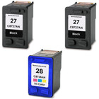3 Pack - Remanufactured replacement for HP 27 and HP 28 ink cartridges