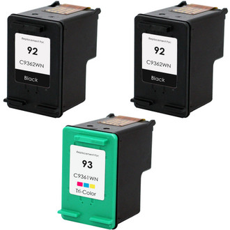 3 Pack - Remanufactured replacement for HP 92 and HP 93 ink cartridges