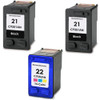 3 Pack - Remanufactured replacement for HP 21 and HP 22 ink cartridges