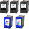 5 Pack - Remanufactured replacement for HP 21 and HP 22 ink cartridges