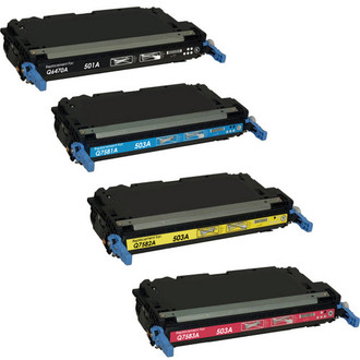 4 Pack - Remanufactured replacement for HP 501A series laser toner cartridges