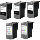5 Pack - Remanufactured replacement for Canon PG-40 and CL-41 series ink cartridges