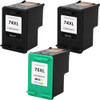3 Pack - Remanufactured replacement for HP 74XL - HP 75XL ink cartridges