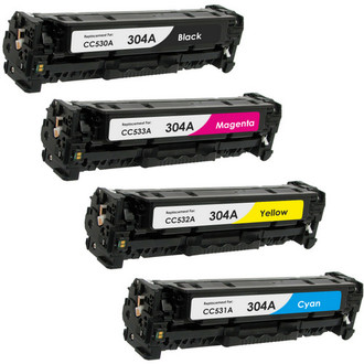 4 Pack - Remanufactured replacement for HP 304A series laser toner cartridges