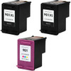3 Pack - Remanufactured replacement for HP 901XL series ink cartridges Includes 2 black and 1 color ink cartridge