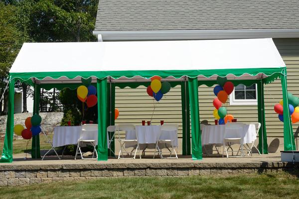10x20 Party Tent 8 Leg Galvanized Steel Frame Green