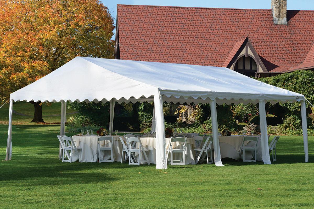 20x20 Party Tent 8 Leg Galvanized Steel Frame White