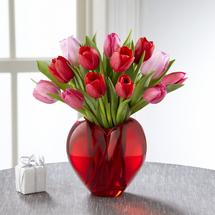 Red tulips, pink tulips, Valentines Day flower bouquet. Season of Love Bouquet, Albuquerque Florist