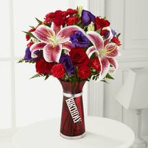 Happy Birthday flower bouquet,  red roses, Stargazer lilies, red mini carnations, purple double lisianthus, Albuquerque Florist