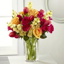 Vera Wang, fuchsia tulips, yellow, peach roses, pink  roses , rose, tulip