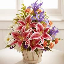 Stargazer lilies, blue iris, white traditional daisies, orange mini carnations, purple statice, and yellow solidago, flowers, send flowers, Albuquerque florist