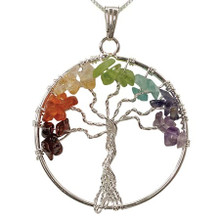 Chakra Tree of Life Gemstone Pendant - Large