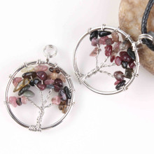 Small Tree of Life Pendant - Tourmaline