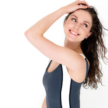 Body control tankini top dark grey with tummy control - ultra flattering swimwear