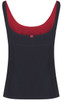 Black tankini top with scoop neck and red lining viewed from the back - ultra flattering swimwear