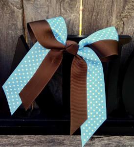 Leighton Swiss Dot Brown/Light Blue