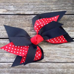 The Glenda Faye Swiss Dot- Black & Red