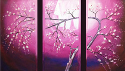 Pleasant Tree  - 48in x 32in (Details Inside),FIZCLR26_4832,Small white Purple flower branch,Beauty of purple Tree,Museum Quality - 100% Handpainted Buy Painting Online in India.