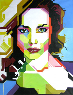 Modern Lady Art - 36in X 47in,RAJEAR32_3647,Acrylic Colors,Lady,Modern Art - Buy Paintings online in India