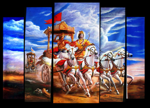 Arjun Rath - 65in x 50in (Details Inside),FIZNEW_6550,Arjun,Rath,Mahabharat,Museum Quality - 100% Handpainted Buy Painting Online in India.