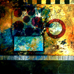 FlowerOnColoursplash - 32in X 32in,31ABT506_3232,Multi-Color,80X80,Abstract Art Canvas Painting