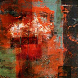 FireClouds - 32in X 32in,31ABT482_3232,Red, Pink, Orange,80X80,Abstract Art Canvas Painting