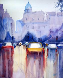 Mumbai Rain - Handpainted Art Painting - 18in X 22in