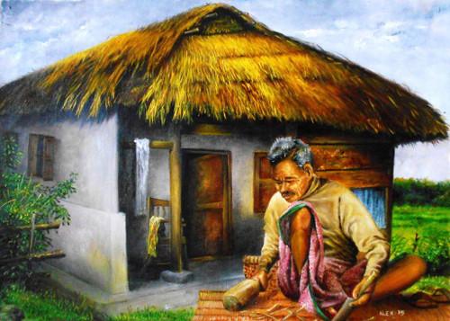 Weaving Mat,Working Man,Old Man,Hut