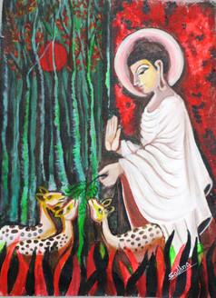 Buddha with deer,Figurative,Buddha,Buddhism,Peace