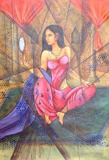 Modern Lady,Figurative,Feminine,Women with mirror