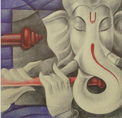 Figurative,Abstract,Mother and ChildReligious,Ganesha,Bappa,ganesha with flute