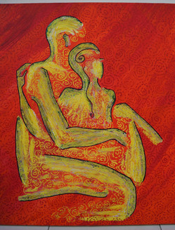 Couple Embracing Love and Compassion 2 - Handpainted Art Painting - 20in X 24in (Border Framed)