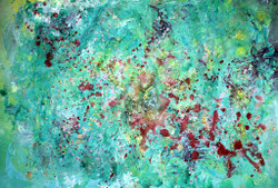 Emotions have no expiry, Abstract Srokes, dots, Shapes, Design, Green Painting