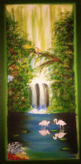 waterfall painting, green painting, tree painting, birds and waterfall, nature painting