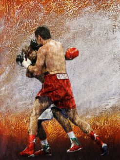 figurative painting,texture painting, red, orange shade painting, boxing painting, competition, sports painting