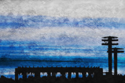 landscape painting, blue, dark shade painting, sea at evening, texture painting