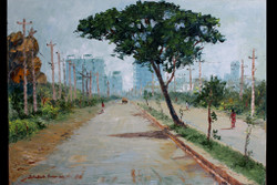 City-scape 3 - Handpainted Art Painting - 32in X 23in