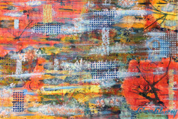 Abstarct painting,Heavy Texture Paintings,red shades painting, red flowers painting.