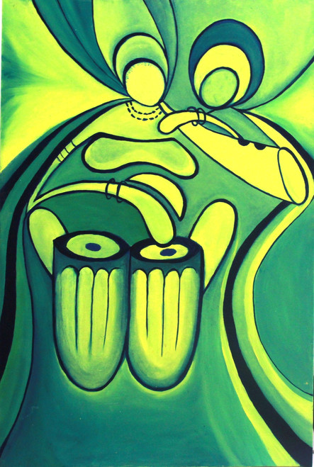 Rythym of oil painting, green painting, Abstract painting, modern art painting, music, dance painting