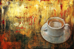 31 Still Life27, texture painting, beverage and drink painting, new age painting, coffee painting, yellow brown painting.