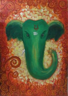 Ganesha , Green, abstract,Green Ganesha,ART_1292_11105,Artist : Shilpa Mathur,Acrylic