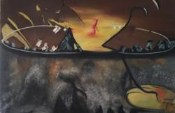 deep art, surrealism, abstract, life in web,Life In Web,ART_1289_11073,Artist : Vijay  Sareen,Oil