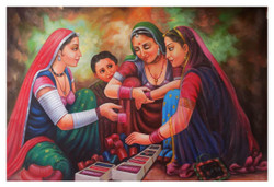 feminine, figurative painting, multi colour painting, village painting, group of ladies, bangles seller,INDIAN ART 3,ART_1033_11044,Artist : PARESH MORE,Acrylic
