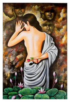 figurative, feminine painting, mutilcour painting, lady with flower,INDIAN ART 2,ART_1033_11042,Artist : PARESH MORE,Acrylic