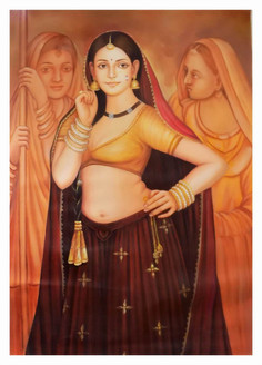 Indian art, a lady, village, yellow, brown shade painting, village painting,INDIAN ART 1,ART_1033_11041,Artist : PARESH MORE,Ink
